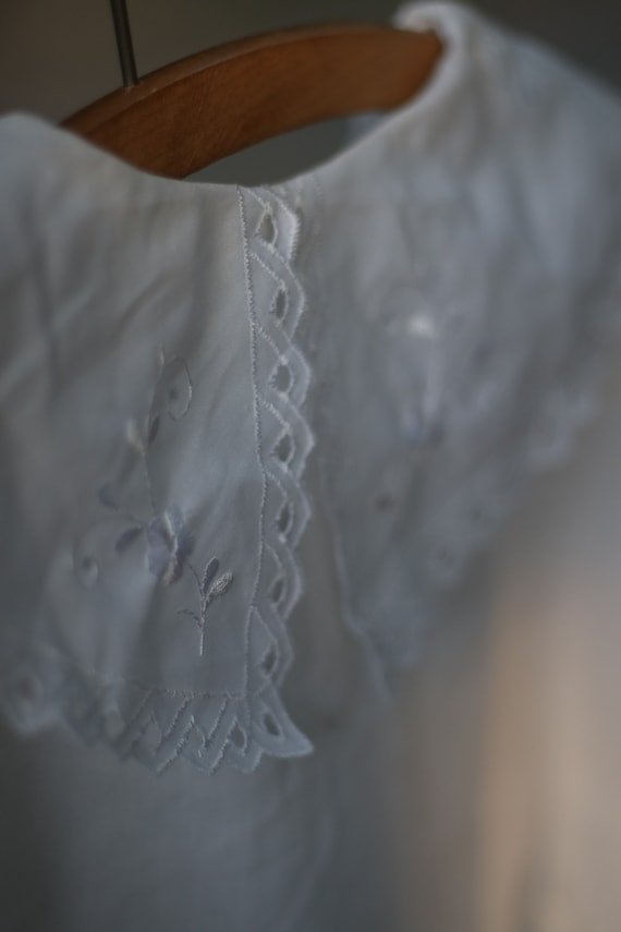 Vintage White Cotton Blouse with Statement Collar… - image 2