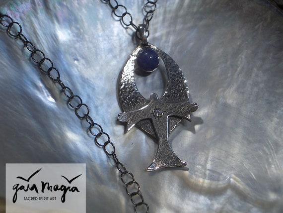 Bless Me Praying Guardian Angel Amulet Hematite Pendant Necklace
