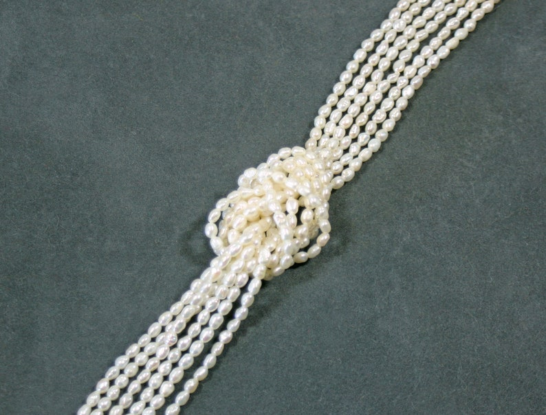 """top quality 3 x 3.5 mm Fresh-water pearl strand Buy 3 get 1 free 16/"""" oblong"""