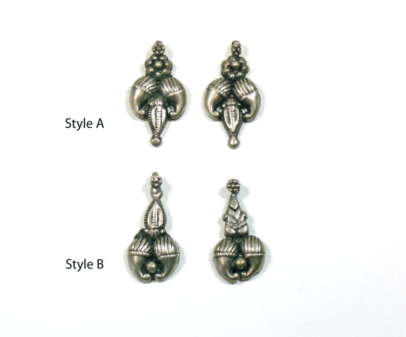 1-14 Jewelry Charms Drops Dangles 2 Styles Earring Pair Vintage Silver Paisley Pendant Beads Set of 2-31-33mm