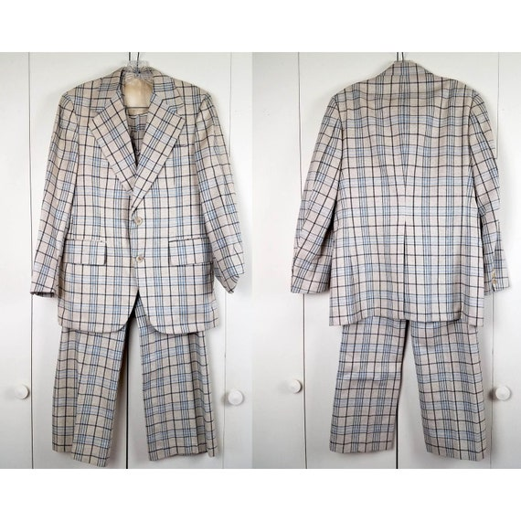 Vintage 60s Men's Plaid 3-Piece Tweed Suit Set, Sm