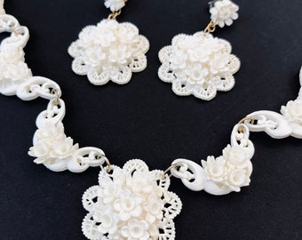 Vintage Carved White Celluloid Floral Necklace and Dangle Earrings