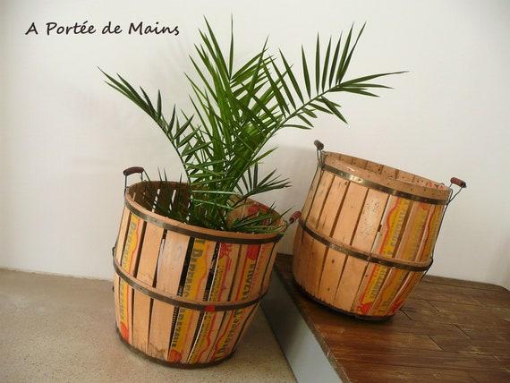 Cache Pot En Bois De Cagette Cercle Metal Cache Pot Original Tonneau Ancien Tonneau Alcool Decoration Industrielle Vintage