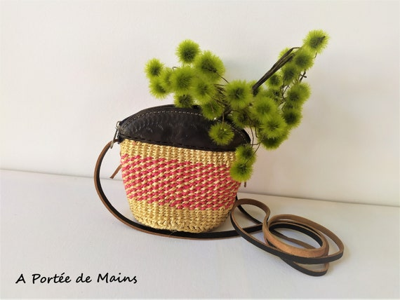Small wicker and leather bag, wicker shoulder bag,