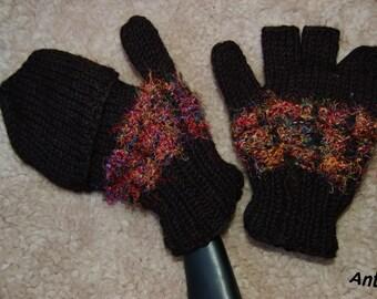 6b4ffa8274d80e Handschuhe Wolle Fingerlinge mit Kappe Strick Handschuhe Gefüttert  Fäustlinge Fingerlose Handschuhe mit Kappe Handgestrickte Handschuhe