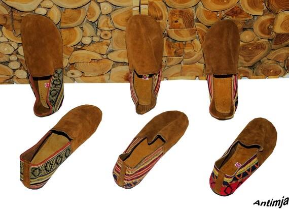 Slipper Sandalen Wildleder Babouche Stil mit Bordüre Espandrilles Stil Wildleder Schuhe Hippie Goa Sommer Slipper Wildleder Retro