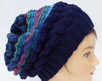 80be1381 Knitted slouchy hat, navy blue beanie for him, boyfriend men teenager