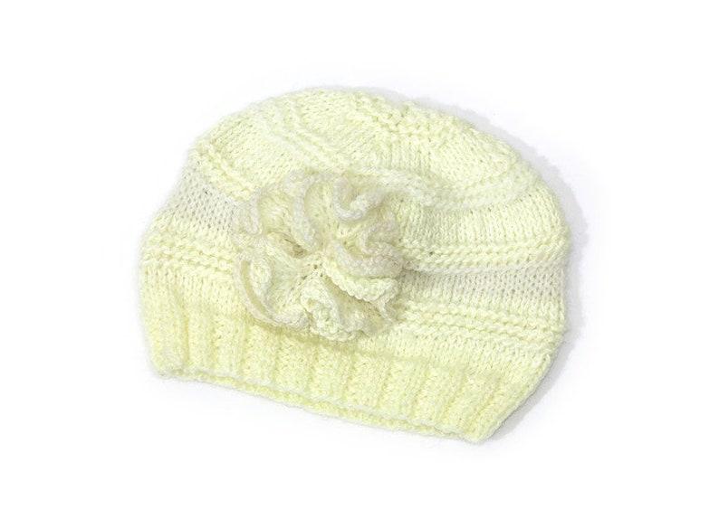 Baby hat cream beanie with flower little girl beanie