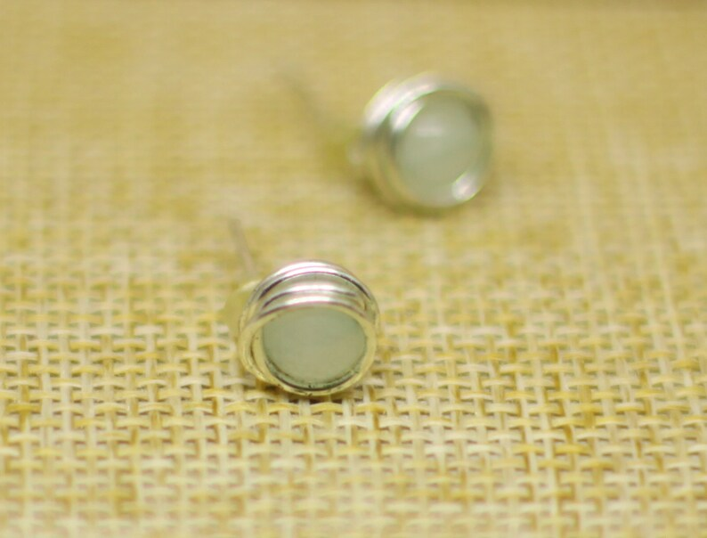 Earrings studs jade wire wrapped stone minimalistic jewellery