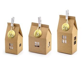 Advent Calendar Set 24 Houses Kraft Paper Gold Pendant Boxes DYI