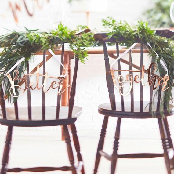 Schilder Hochzeit Brautpaar Rosegold Deko Stuhl Etsy