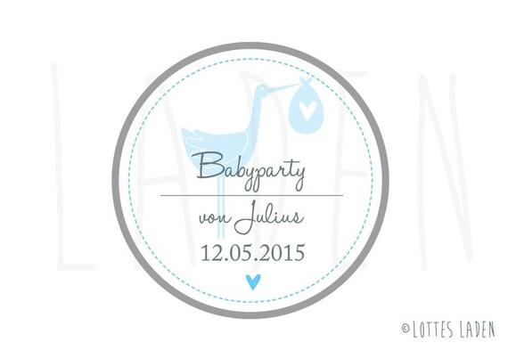 24 persönliche Aufkleber Babyparty Storch Blau   Etsy