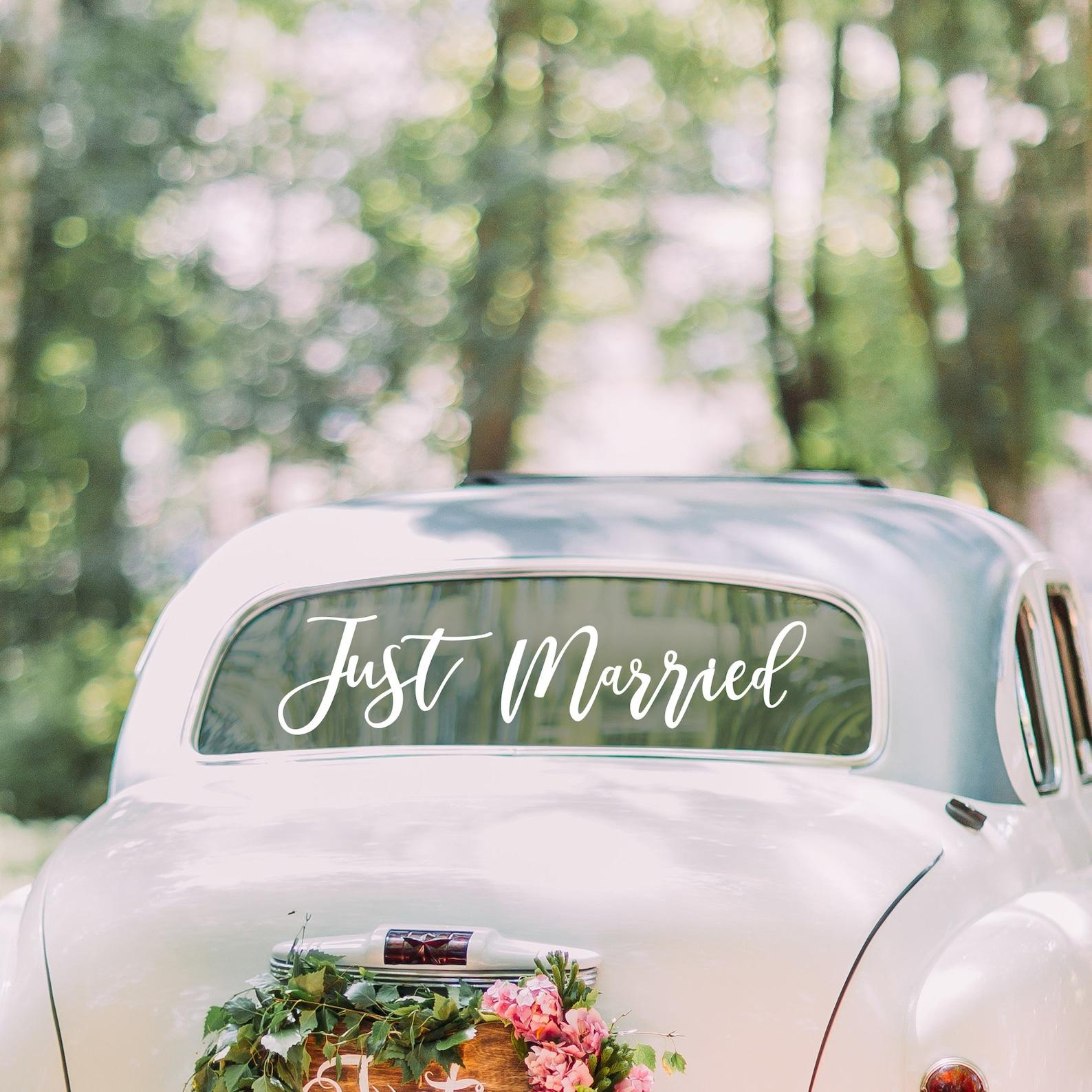 Schriftzug Hochzeitsauto Schmuck