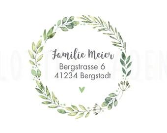 24 Personalized Address Stickers Sticker Wreath Eucalyptus