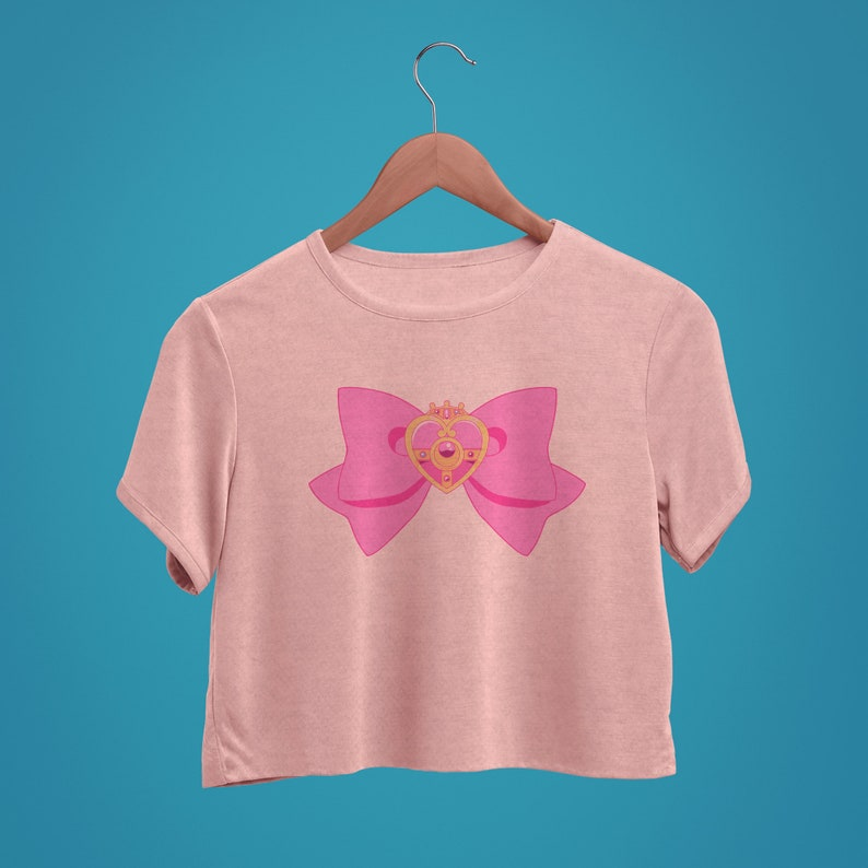 Sailor Moon Unofficial Cosmic Heart Compact Brooch Bow Inspired by Original Anime Kawaii Super Soft Crop Top