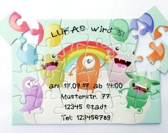 Kindergeburtstag, Einladung, Puzzle, Individuelle Einladung, Geburtstag,  Monster, Bunt, Originelle Einladung, Karte, Witzig