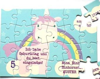 Einladungskarte Kindergeburtstag Puzzle Karte Einladung Einhorn Geburtstag  Party Originell