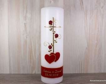 Hochzeitskerze Kreuz Herzen, dunkelrot