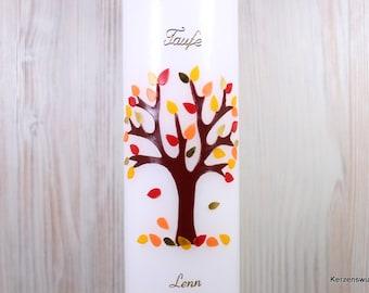 Taufkerze Lebensbaum Herbst 2