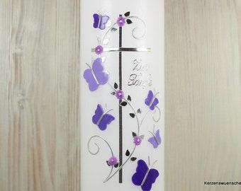Taufkerze Kreuz Schmetterlinge, flieder