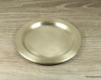 Kerzenteller Metall, silberfarben  - ø 11,5 cm