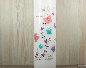 Taufkerze Schmetterlinge, flieder türkis rosa