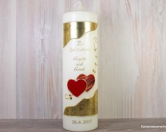 Hochzeitskerze  Herzen, gold