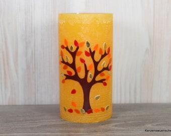 Kerze Herbstbaum, Deko Jahreszeitentisch