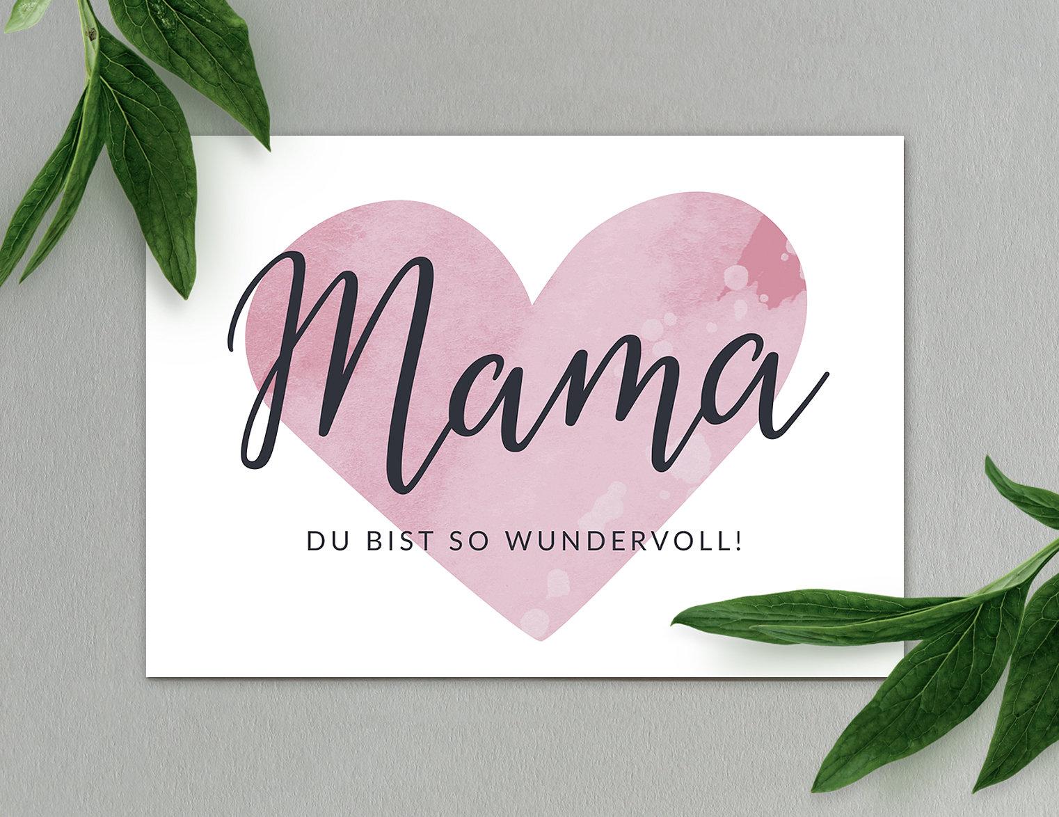 Mama Hochglanz-Postkarte Postkarte Grußkarte Muttertag | Etsy