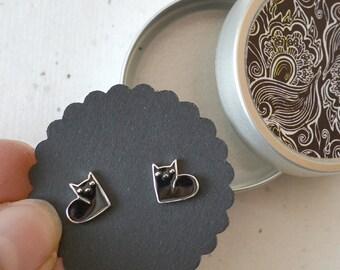 Earrings, earrings, little kittens, cats, silver-plated, black enamelled