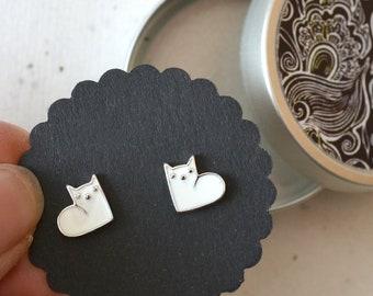 Ear studs, earrings, little kittens, cats, silver-plated, white enamelled