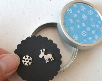 Earrings small moose, reindeer with snowflake, jewelry cans with snowflake design