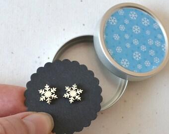 Earrings, Earrings Snowflake Ice Crystal, Stainless Steel, Jewelry Cans Snowflakes