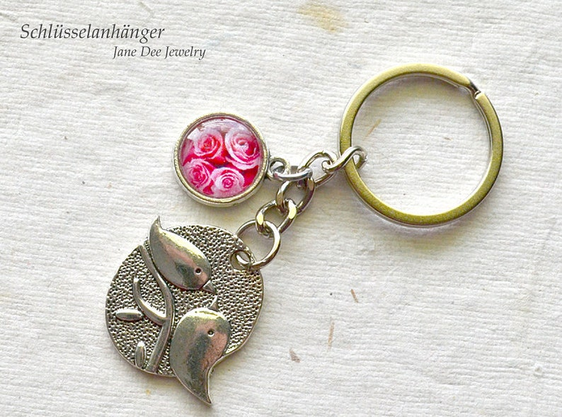 Key Ring birds and roses