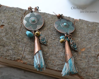 Brinco earrings antique copper paints with turquoise stone