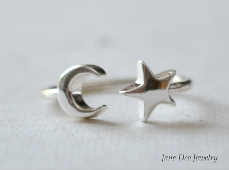 Ring moon and star silver plated image 0