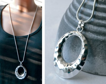 Long chain with oval pendant hammered silver colors