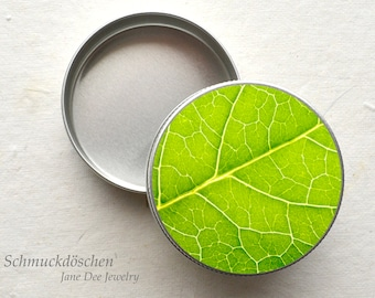 Jewelery can green leaf