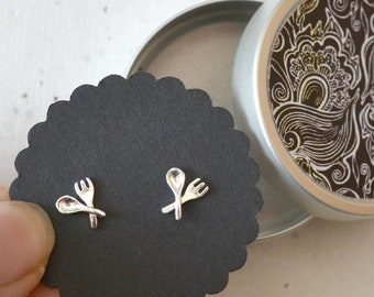 Ear studs silver-plated, cutlery, spoon and fork, jewelry cans