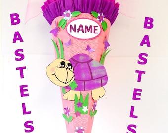 Bastelset Schultüte Schildkröte pink Zuckertüte