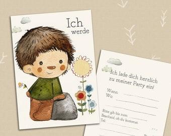 10 Einladungen Kindergeburtstag (Einladungskarten)