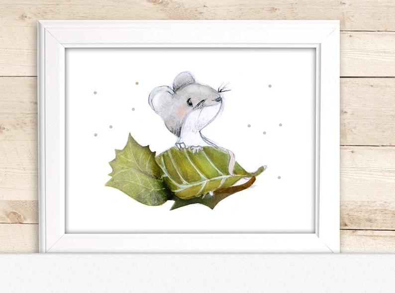 Kinderbild Maus fürs Kinderzimmer Kinderbilder | Etsy