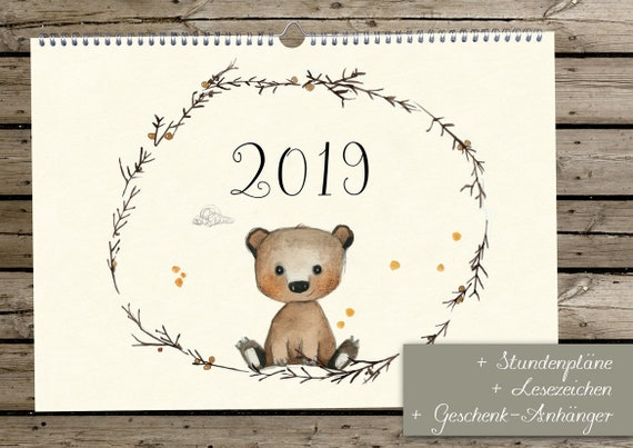 wandkalender 2019 kalender 2019 kalender f r kinder etsy. Black Bedroom Furniture Sets. Home Design Ideas