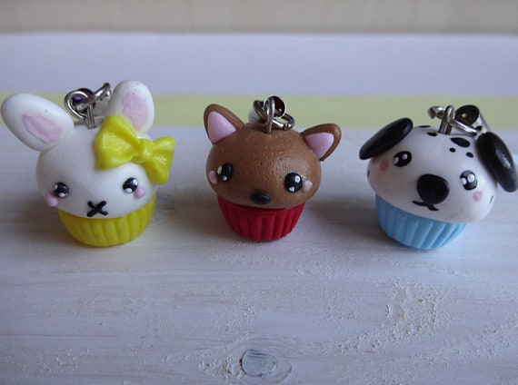 Fimo Cupcake Tiere Anhanger Fimo Cupcakes Polymerclay Etsy