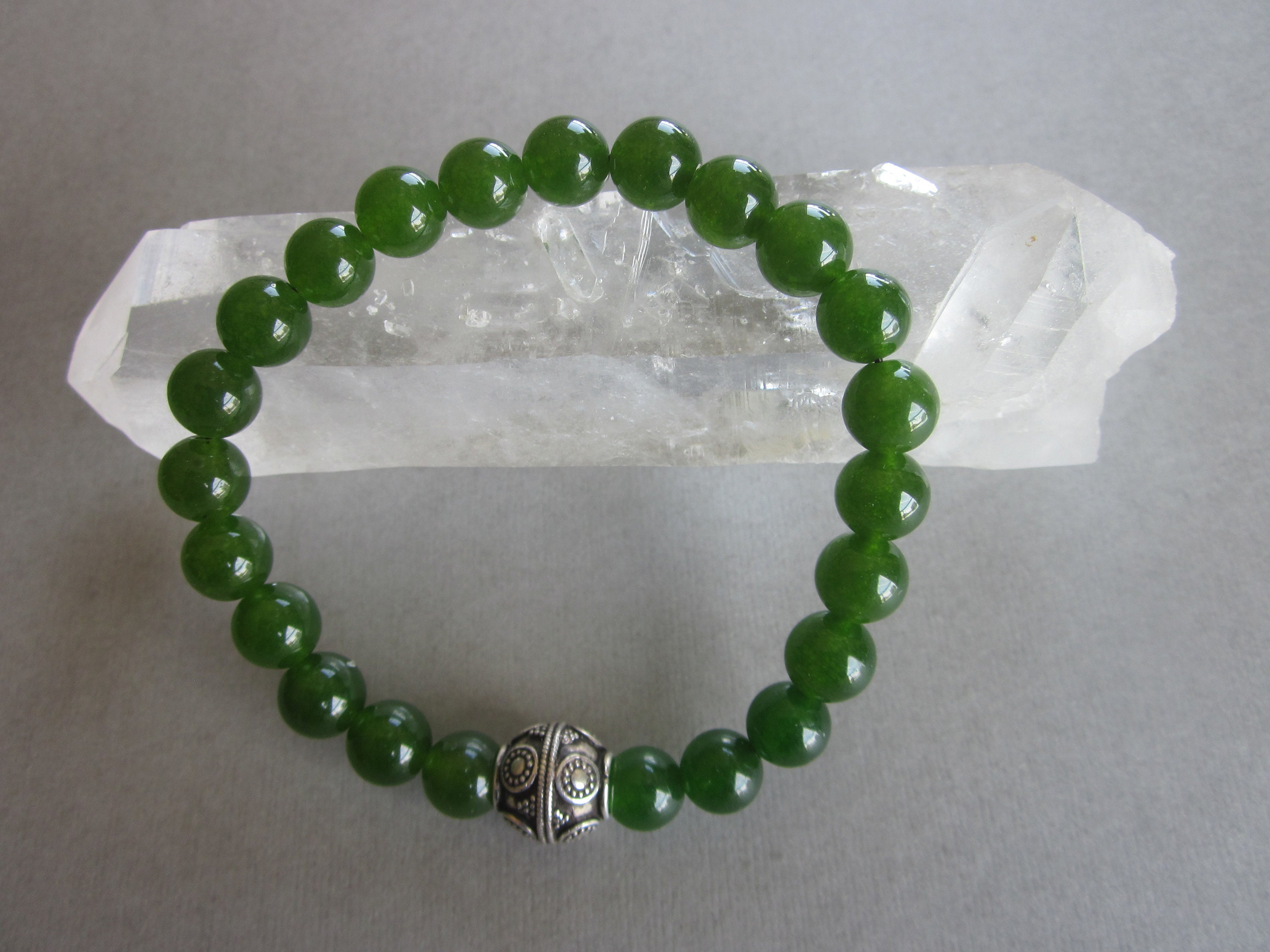Green Jade and  Sterling silver beads bracelet