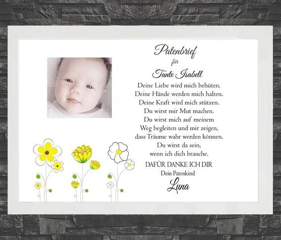 Geschenk zur Taufe Patenbrief Taufbrief 46 personalisiert