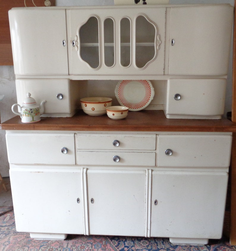 Vintage 1949 Kitchen Buffet Antique Brocante Pure Cosiness Cream White
