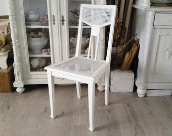 Antiker Stuhl, Gründerzeit, Shabby, Weiß