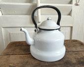 old teapot enamel, antique enamel, jug, tea kettle, kettle, white, shabby, vintage, brocante, country house