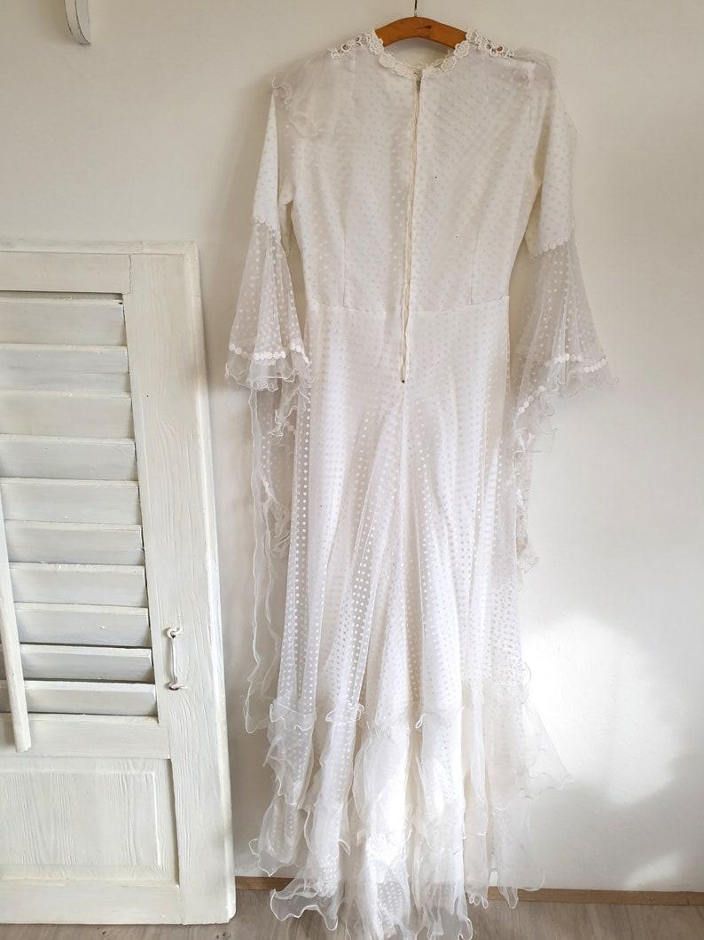 white vintage dress boudoir lace shabby old wedding dress tulle chiffon brocante decoration 50s-60s antique wedding dress